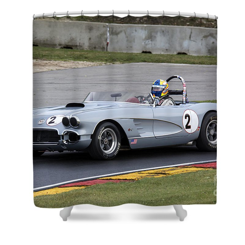 Automobile Shower Curtain featuring the photograph 1960 Chevy Corvette At Road America by Tad Gage