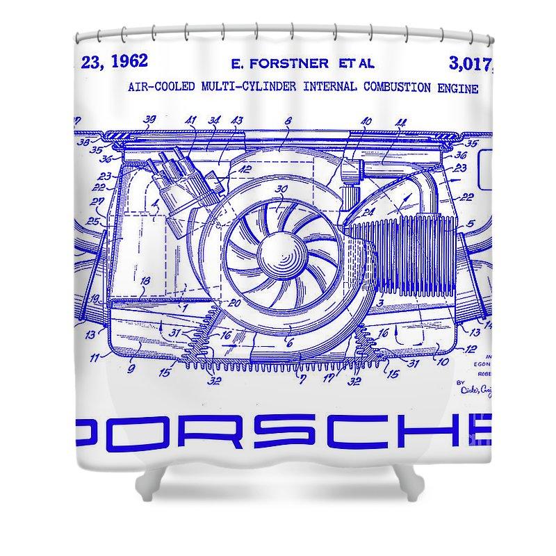 Porsche Patent Shower Curtain featuring the photograph 1962 Porsche Engine Patent Blueprint by Jon Neidert