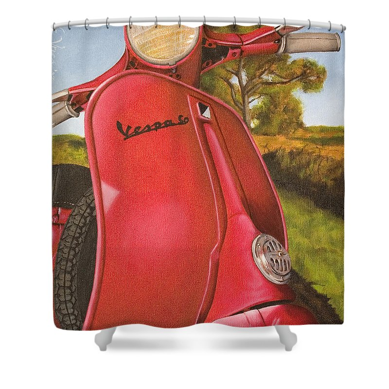 Scooter Shower Curtain featuring the painting 1963 Vespa 50 by Rob De Vries