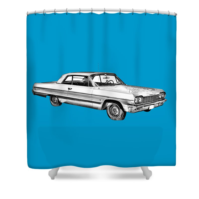 Chevy Shower Curtain featuring the photograph 1964 Chevrolet Impala Car Illustration by Keith Webber Jr