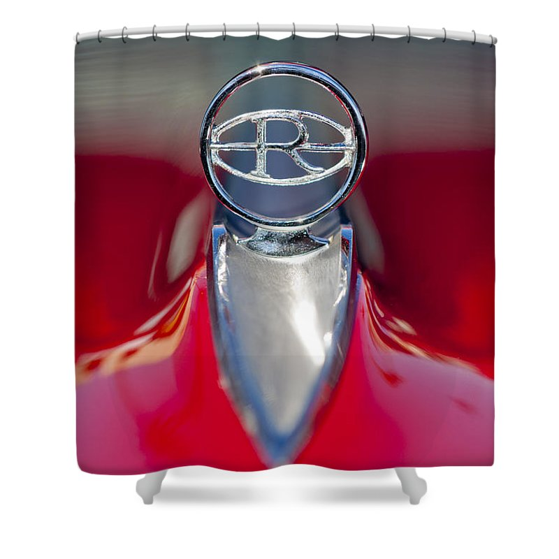 1965 Buick Riviera Shower Curtain featuring the photograph 1965 Buick Riviera Hood Ornament by Jill Reger