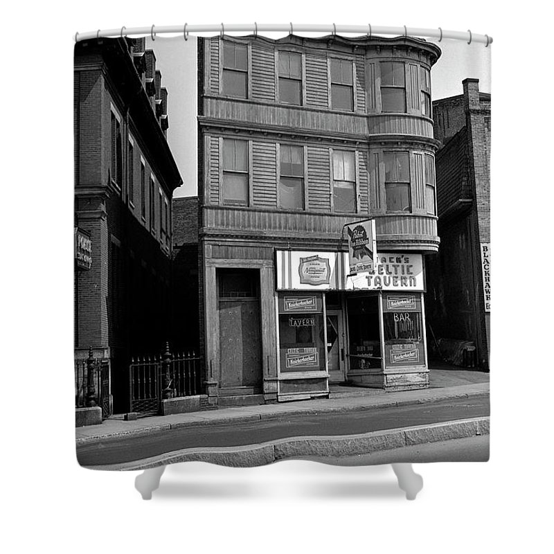 Boston Shower Curtain featuring the photograph 1965 Jack's Celtic Tavern Boston by Historic Image