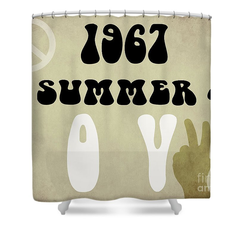 1967 Summer Of Love Shower Curtain Featuring The Painting Newspaper By Mindy