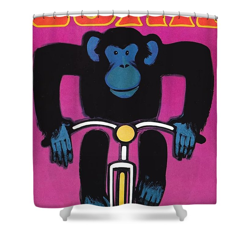 Circus Shower Curtain Featuring The Digital Art 1968 Cyrk Cycling Chimpanzee Polish Poster By Retro