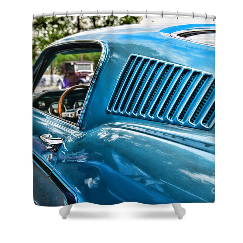 1968 Ford Mustang Fastback In Blue Shower Curtain featuring the photograph 1968 Ford Mustang Fastback In Blue by Paul Ward