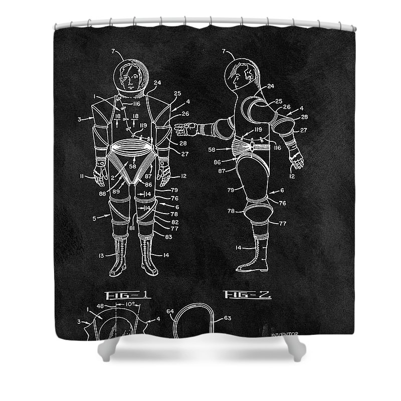 1968 Space Suit Shower Curtain featuring the drawing 1968 Space Suit 1968 by Dan Sproul