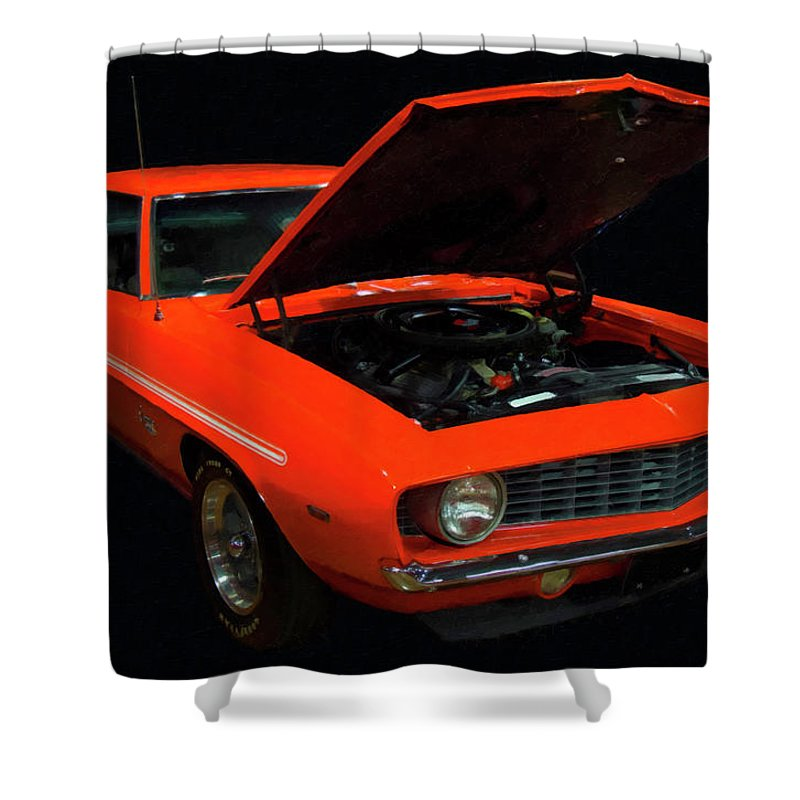 1969 Chevy Yenko Camaro Sc Shower Curtain Featuring The Painting Digital