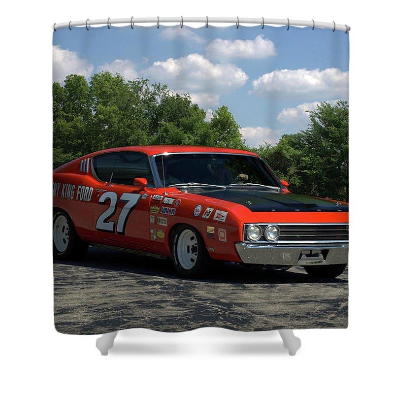 1969 Shower Curtain Featuring The Photograph Ford Torino Talladega Race Car Replica By Tim McCullough