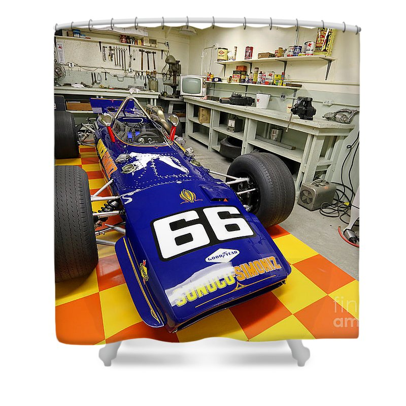 Penske Shower Curtain featuring the photograph 1969 Penske Indy Car In Garage by Steve Gass