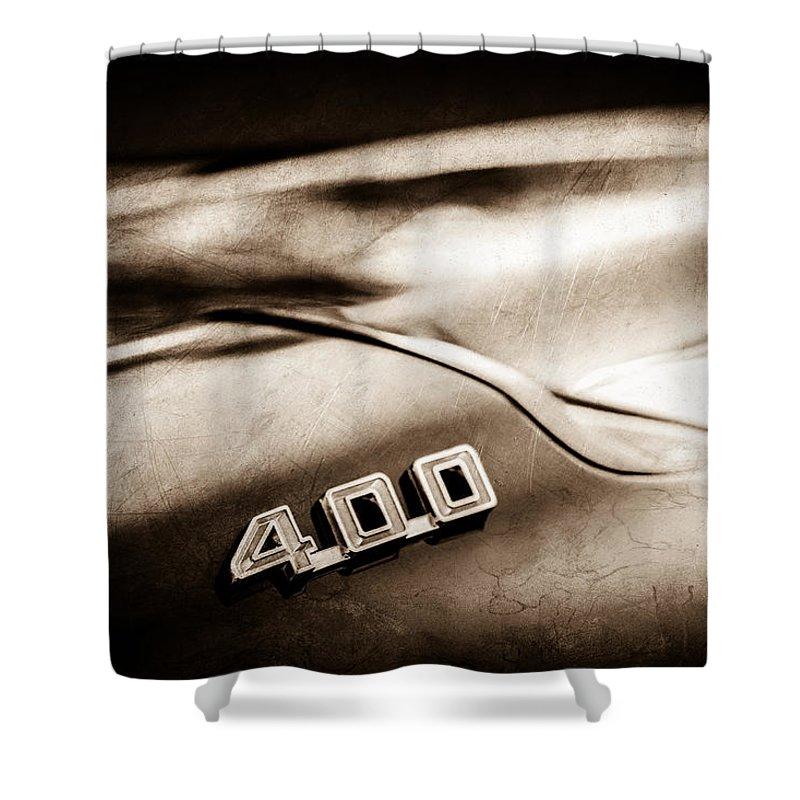 1969 Pontiac 400 Firebird Convertible Shower Curtain featuring the photograph 1969 Pontiac 400 Firebird Convertible -1039s by Jill Reger