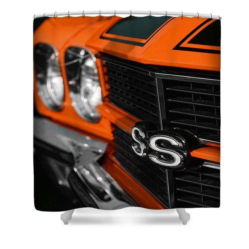 Orange Shower Curtain featuring the photograph 1970 Chevelle Ss396 Ss 396 Orange by Gordon Dean II