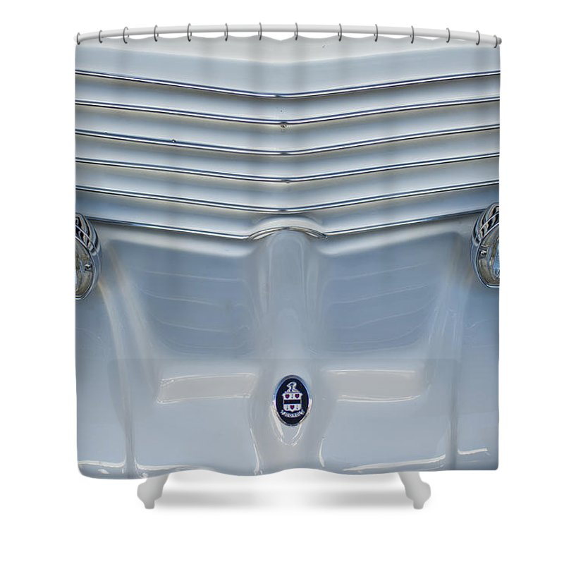1970 Cord Royale Shower Curtain featuring the photograph 1970 Cord Royale Grille Hood Ornament by Jill Reger