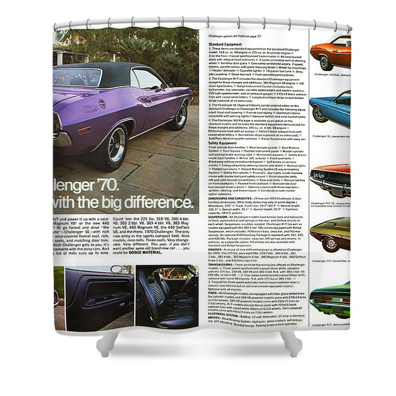 1970 Shower Curtain featuring the digital art 1970 Dodge Challenger by Digital Repro Depot
