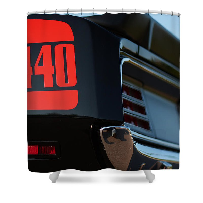 Black Shower Curtain featuring the photograph 1970 Plymouth 'cuda 440 by Gordon Dean II