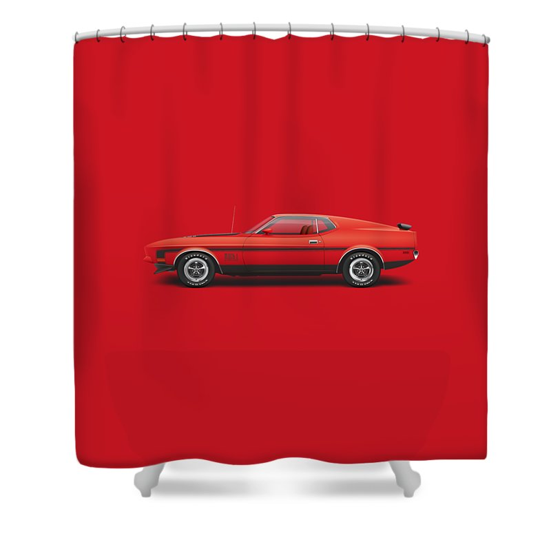 1970 Shower Curtain Featuring The Digital Art 1971 Ford Mustang 351 Mach 1