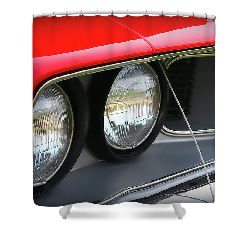 1971 Shower Curtain featuring the photograph 1971 Plymouth Barracuda Cuda Red by Gordon Dean II