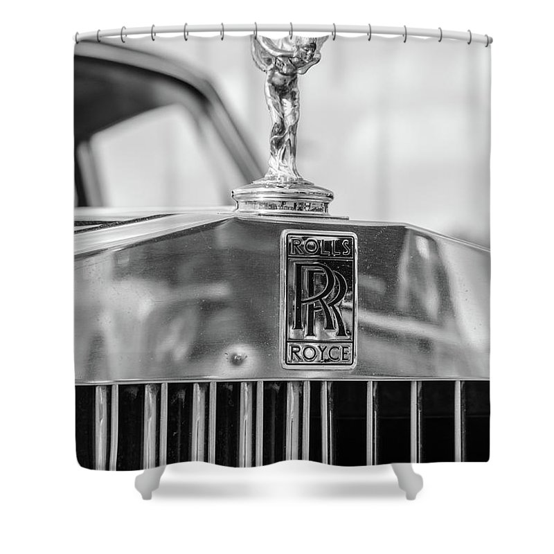 Gaetano Chieffo Shower Curtain featuring the photograph 1976 Rolls Royce Saloon Hood Ornament Bw by Gaetano Chieffo