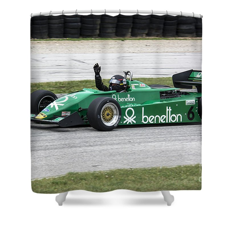 Automobile Shower Curtain featuring the photograph 1983 Tyrrell 011 F1 At Road America by Tad Gage