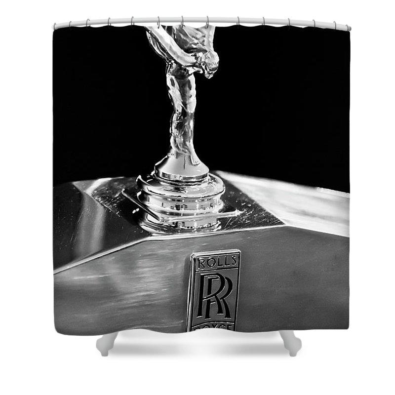 1986 Rolls-royce Shower Curtain featuring the photograph 1986 Rolls-royce Hood Ornament 2 by Jill Reger