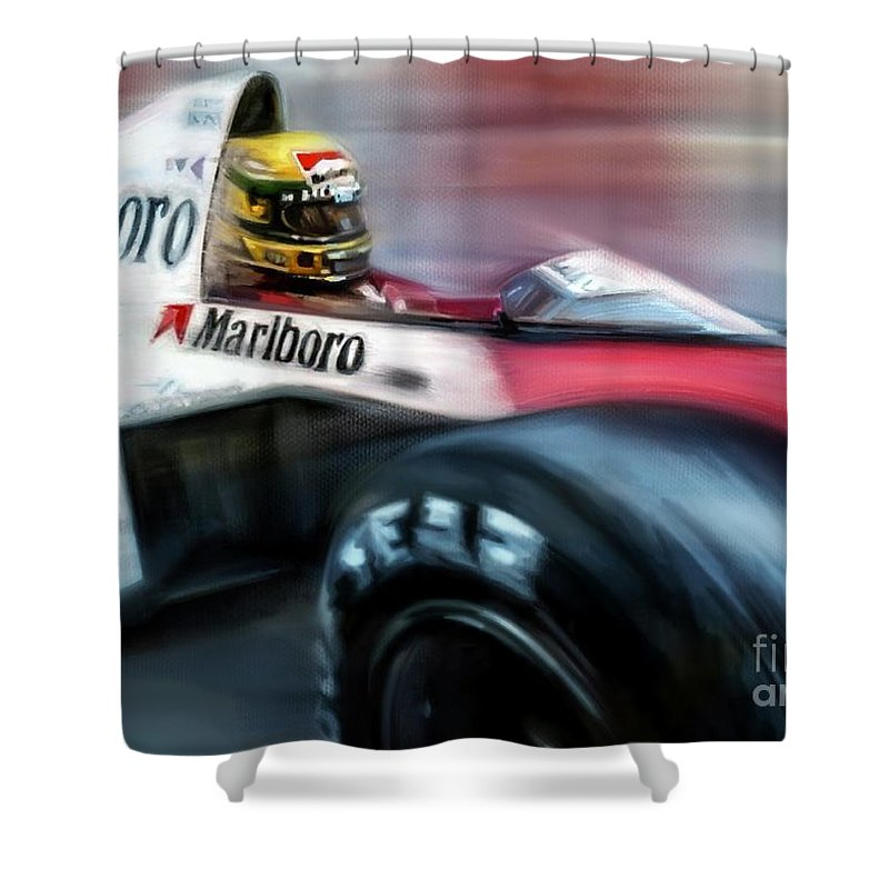 Monaco Shower Curtain featuring the mixed media Racing 1989 Monaco Grand Prix by Mark Tonelli
