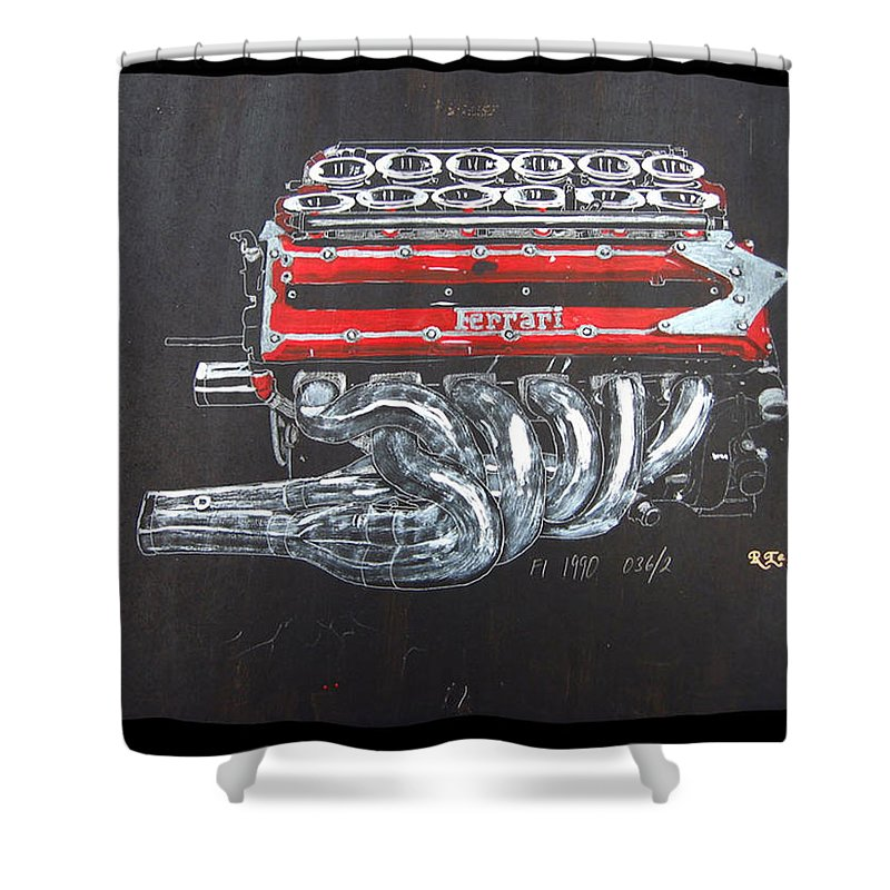 Ferrari Shower Curtain featuring the painting 1990 Ferrari F1 Engine V12 by Richard Le Page