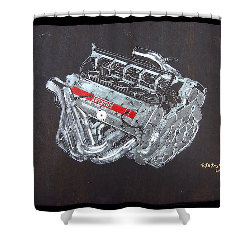Ferrari Shower Curtain featuring the painting 1996 Ferrari F1 V10 Engine by Richard Le Page