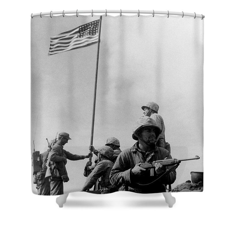 Iwo Jima Shower Curtain featuring the photograph 1st Flag Raising On Iwo Jima by War Is Hell Store