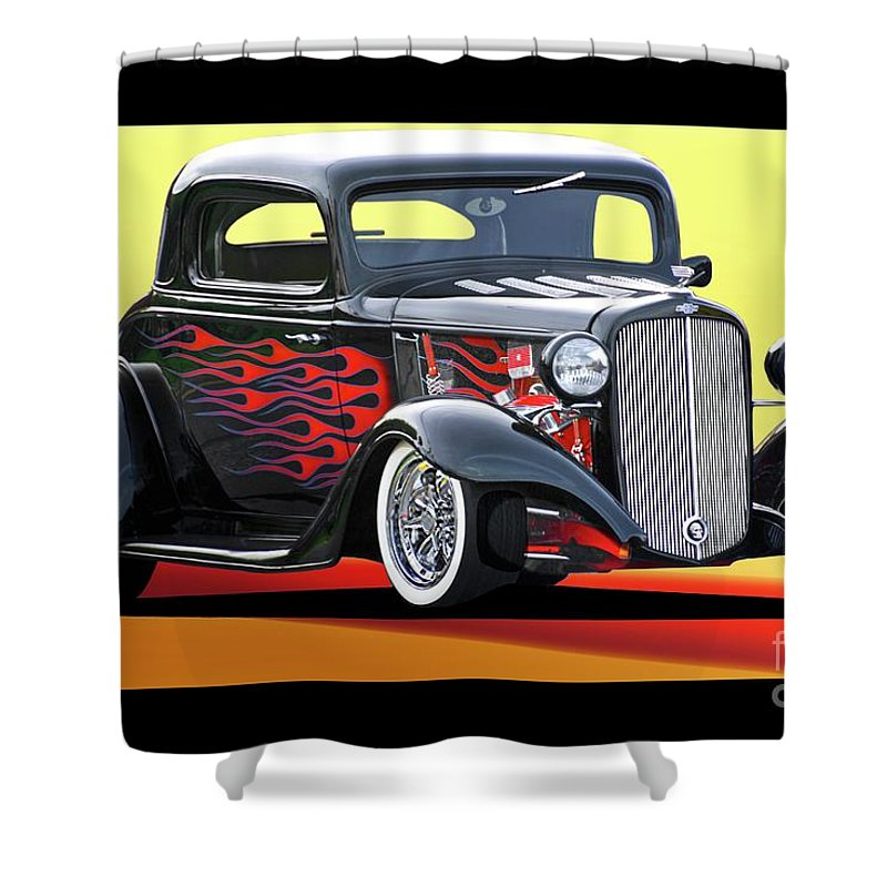 Hot Rod Key Words Shower Curtain featuring the photograph 1933 Chevrolet Coupe by Dave Koontz