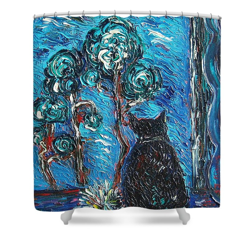 Cat Paintings Shower Curtain featuring the painting A Black Cat by Seon-Jeong Kim