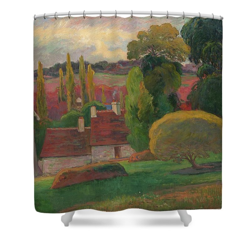 A Farm In Brittany Shower Curtain featuring the painting A Farm In Brittany by MotionAge Designs