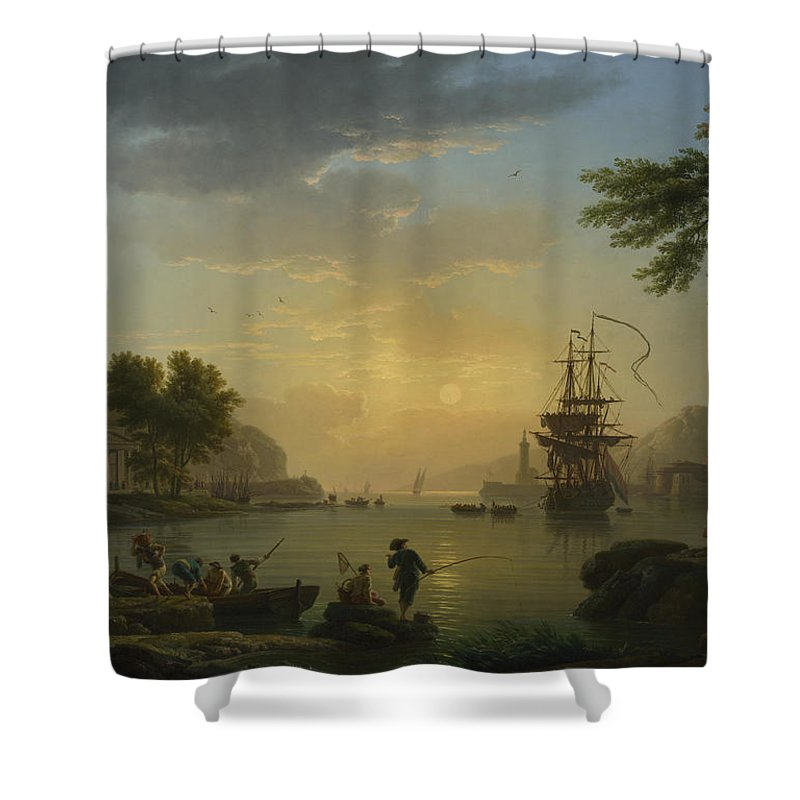 Age Shower Curtain featuring the painting A Landscape At Sunset by Claude-Joseph Vernet