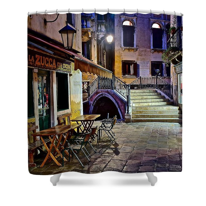Venice Shower Curtain featuring the photograph An Evening In Venice by Frozen in Time Fine Art Photography
