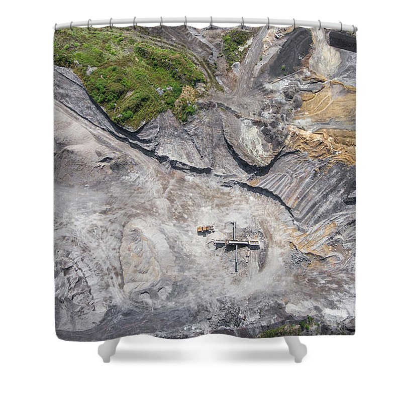 Above Shower Curtain featuring the photograph Aerial View Over The Building Materials Processing Factory. by Mariusz Prusaczyk