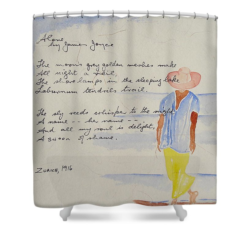 Love Heart Valentines Shower Curtain featuring the painting Alone by Roger Cummiskey