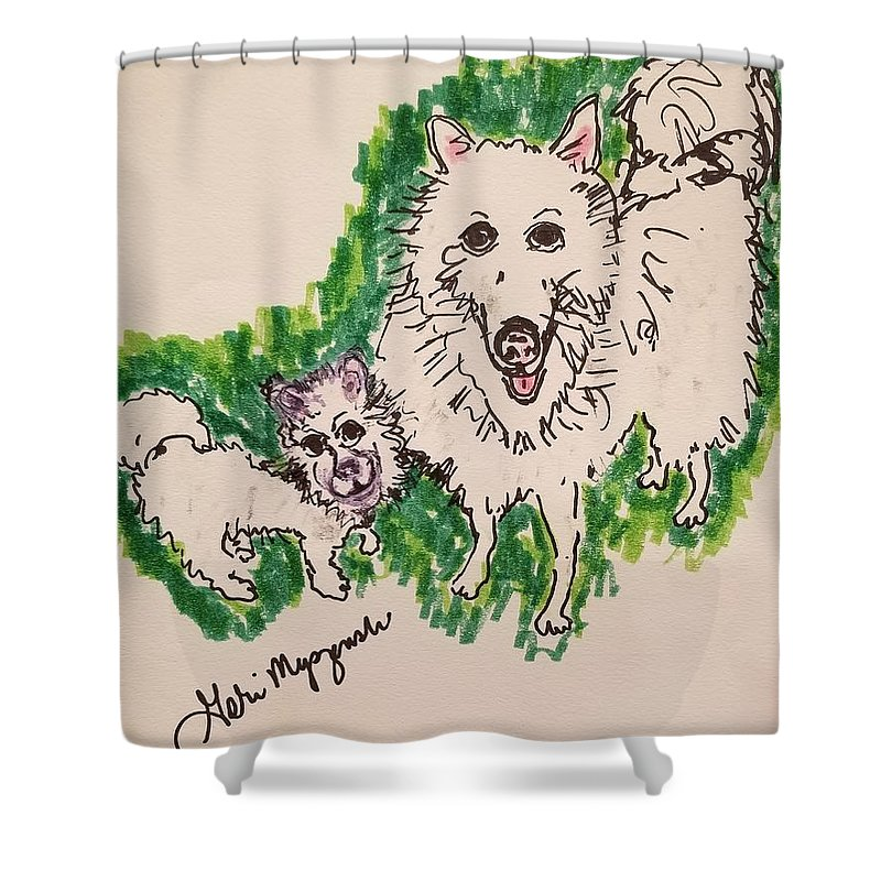 American Eskimo Dog Shower Curtain featuring the drawing American Eskimo Dog by Geraldine Myszenski