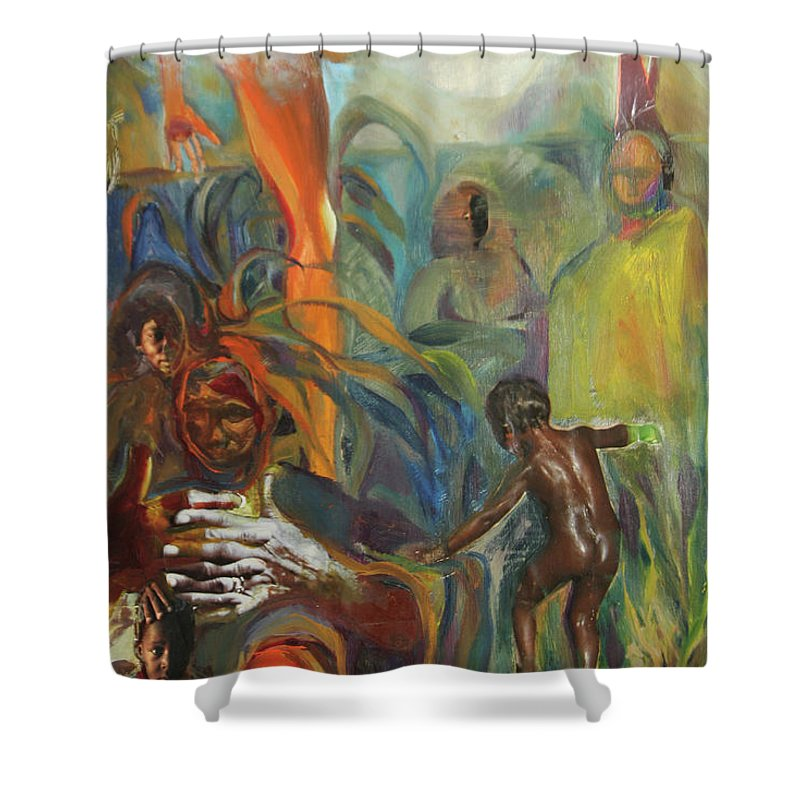 Collage Shower Curtain featuring the mixed media Ancestor Dance by Daun Soden-Greene