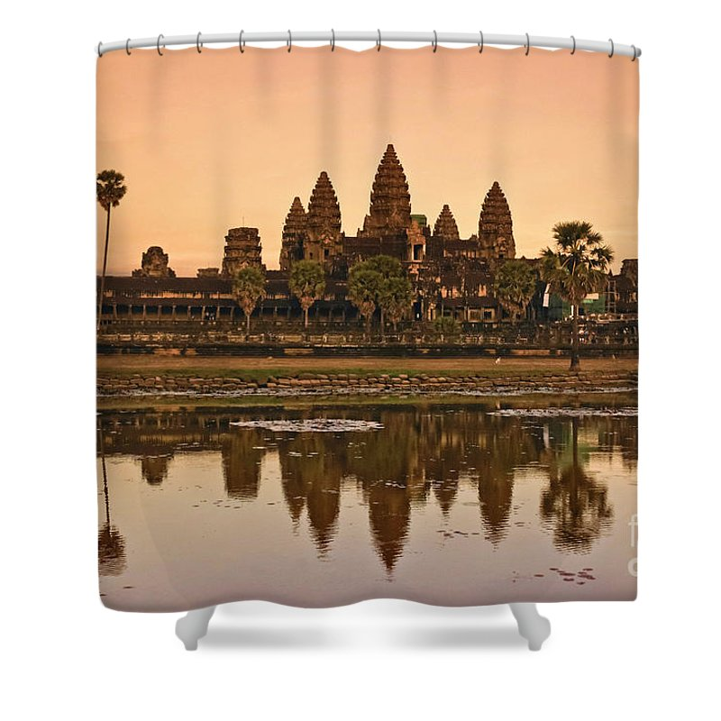 12th Century Shower Curtain featuring the photograph Angkor Wat by Juergen Held