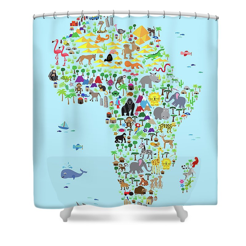 Map Of The Africa Shower Curtain Featuring Digital Art Animal For Children