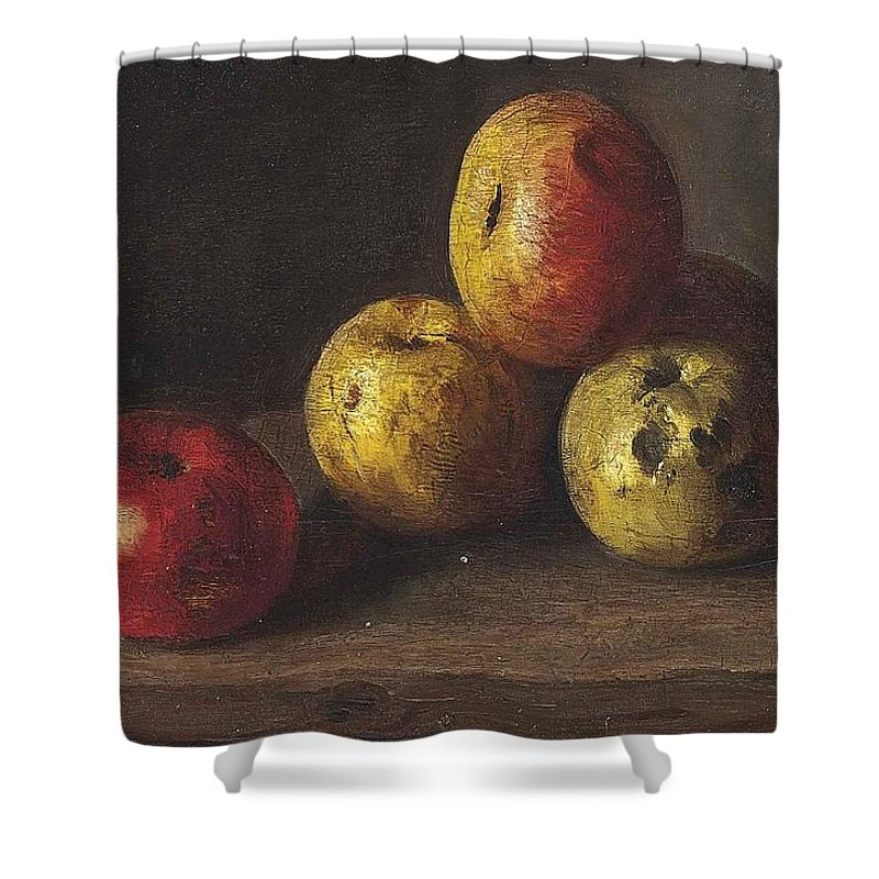 Antoine Vollon Shower Curtain featuring the painting Apples by MotionAge Designs