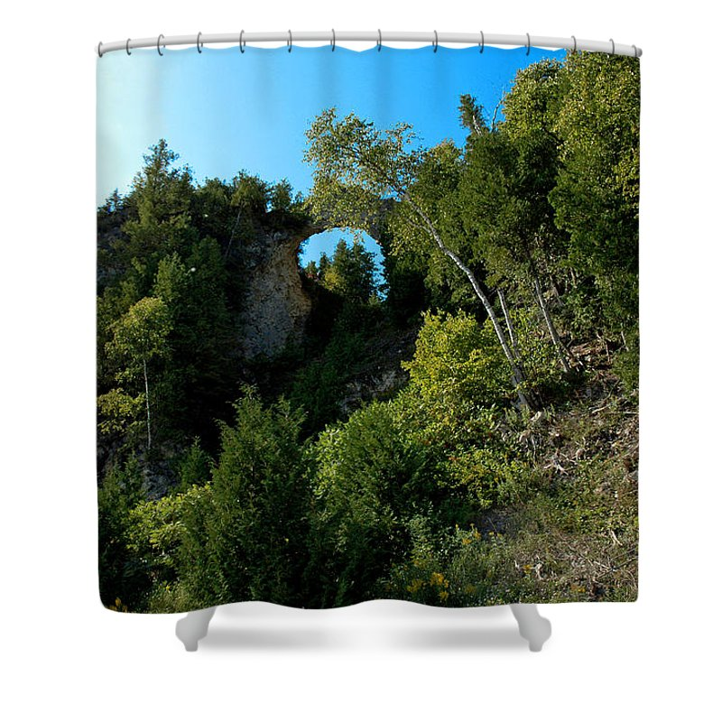 Usa Shower Curtain featuring the photograph Arch Rock Mackinac Island by LeeAnn McLaneGoetz McLaneGoetzStudioLLCcom