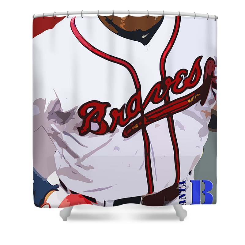 Atlanta Braves Shower Curtain Featuring The Painting Original Typography Baseball Team By Drawspots Illustrations