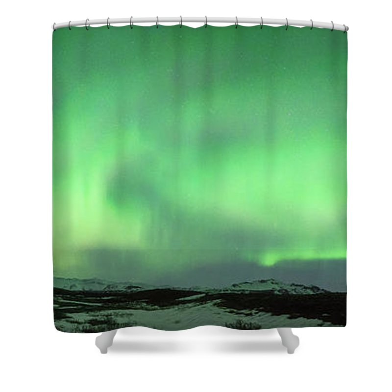 Iceland Shower Curtain featuring the photograph Aurora Borealis Or Northern Lights. by Andy Astbury
