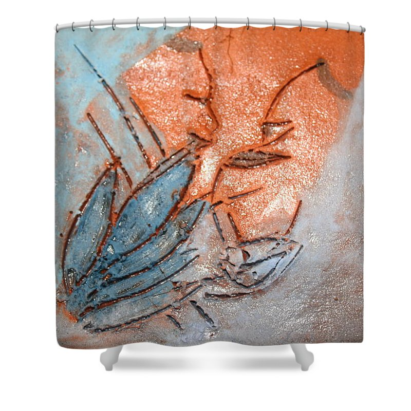 Jesus Shower Curtain featuring the ceramic art Aweese - Tile by Gloria Ssali