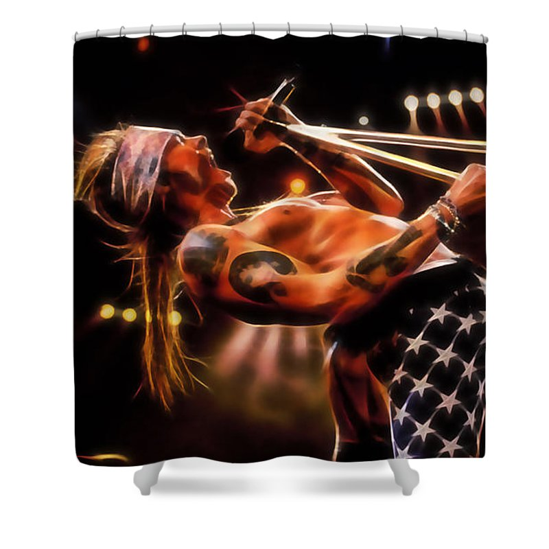Axl Rose Shower Curtain featuring the mixed media Axl Rose Collection by Marvin Blaine