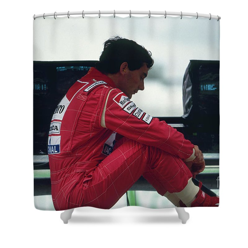 Formula One Shower Curtain featuring the photograph Ayrton Senna. 1992 French Grand Prix by Oleg Konin