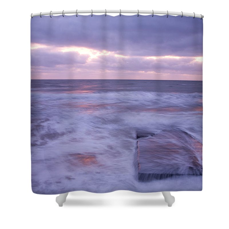 Travel Shower Curtain featuring the photograph Ballyconnigar Strand At Dawn by Ian Middleton