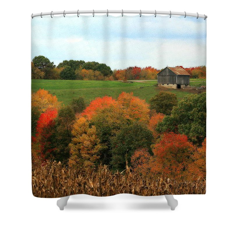 Affordable Shower Curtain featuring the photograph Barn On Autumn Hillside A Seasonal Perspective Of A Quiet Farm Scene by Angela Rath