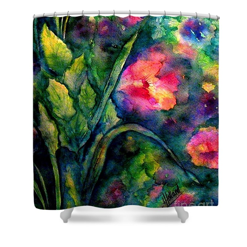 English Garden Shower Curtain featuring the painting Basking In The Light by Hazel Holland
