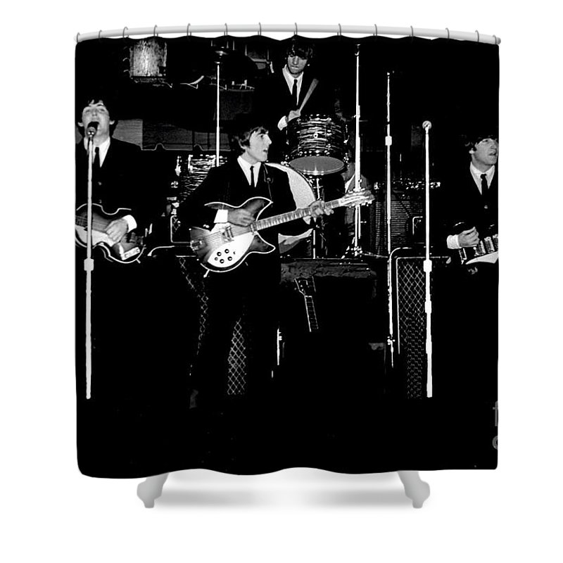 Beatles Shower Curtain featuring the photograph Beatles In Concert 1964 by Larry Mulvehill