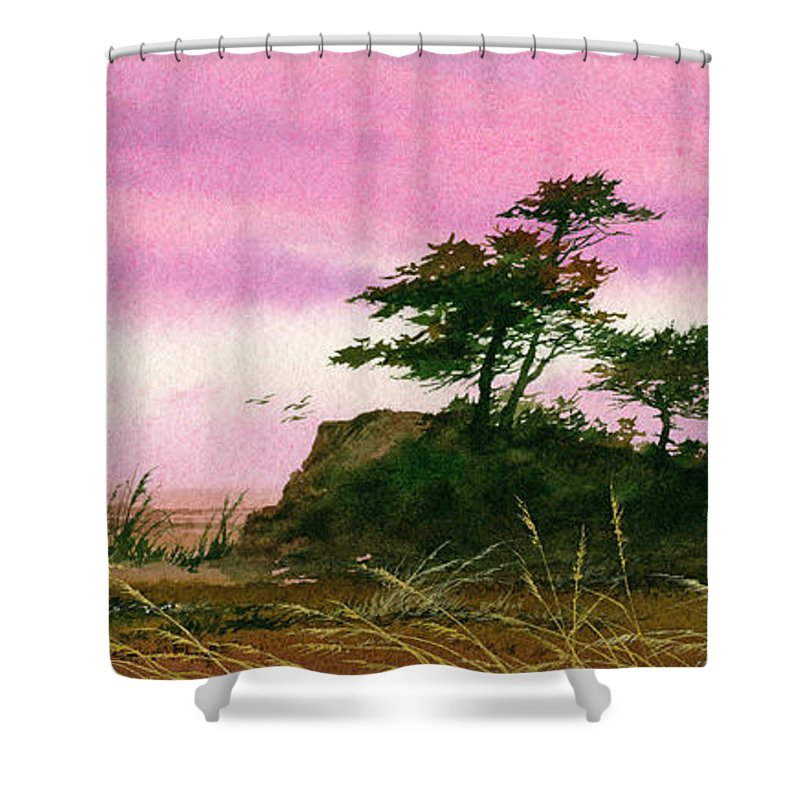 Landscape Print Shower Curtain featuring the painting Beautiful Shore by James Williamson